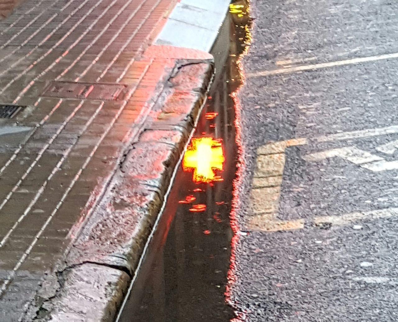 City Street Light Night Street Illuminated Road After Rain