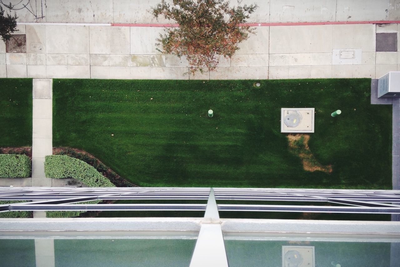 Directly Above Shot Of Garden By Building