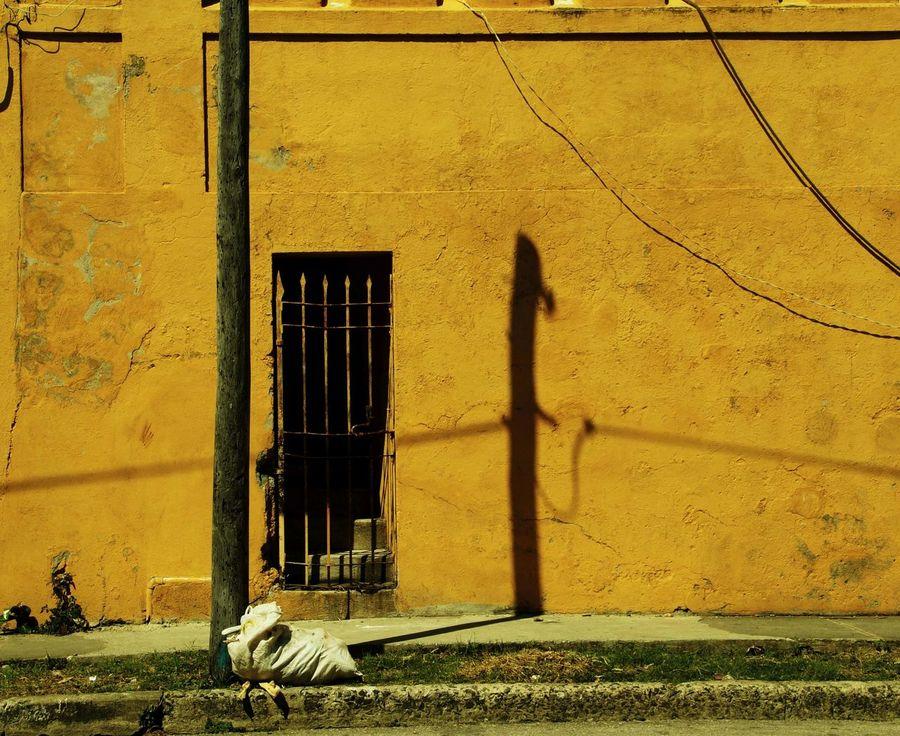 Shadow on the the yellow wall Archtecture Caribbean Cuba Door Santiago De Cuba, Shadow Street, Wall Yellow,