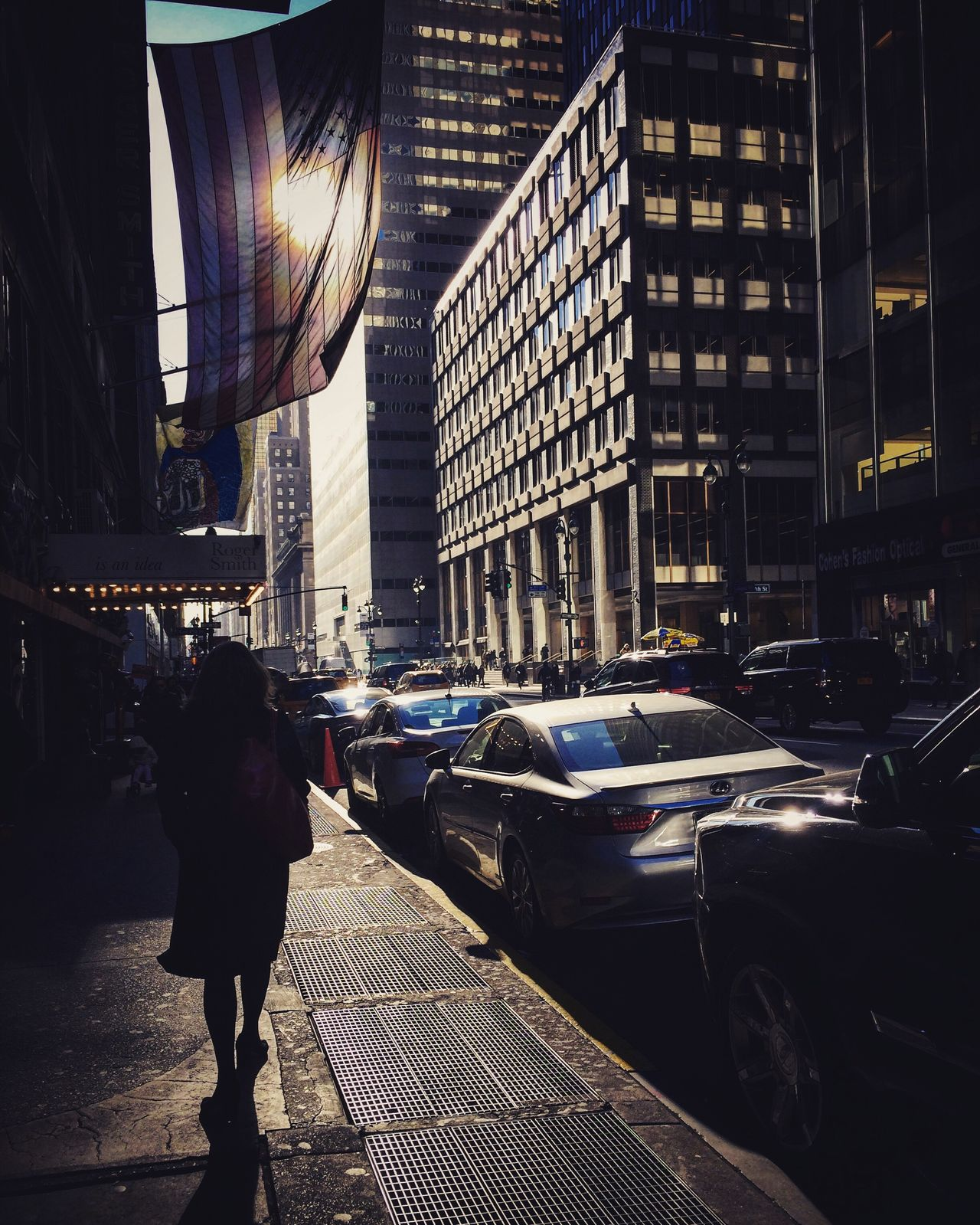 City Street Built Structure Building Exterior Car City Street City Life Real People Architecture People One Person Outdoors Adults Only Adult Day Winter Sunlight Walking Around Walking Pavement Sidewalk City