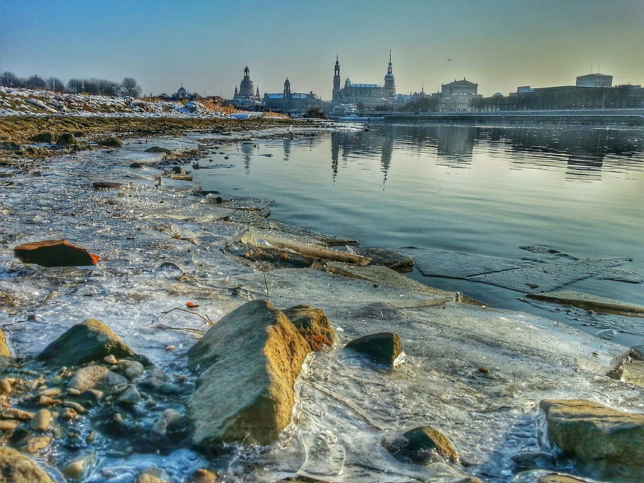 Winter Dresden Skyline Ice