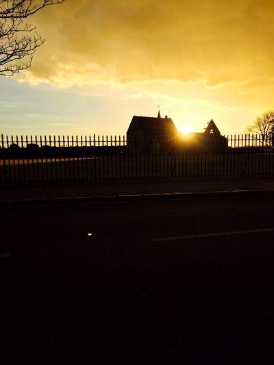 Cloud - Sky Church Building Exterior Built Structure Sunset Sky Sunlight No People Silhouette Outdoors Sun Evening Gold Sunlight Portsmouth Golden Glare Silhouette 2016 EyeEm Awards EyeMe Bestshot EyeMe Best Shot - Landscape EyeEmNewHere