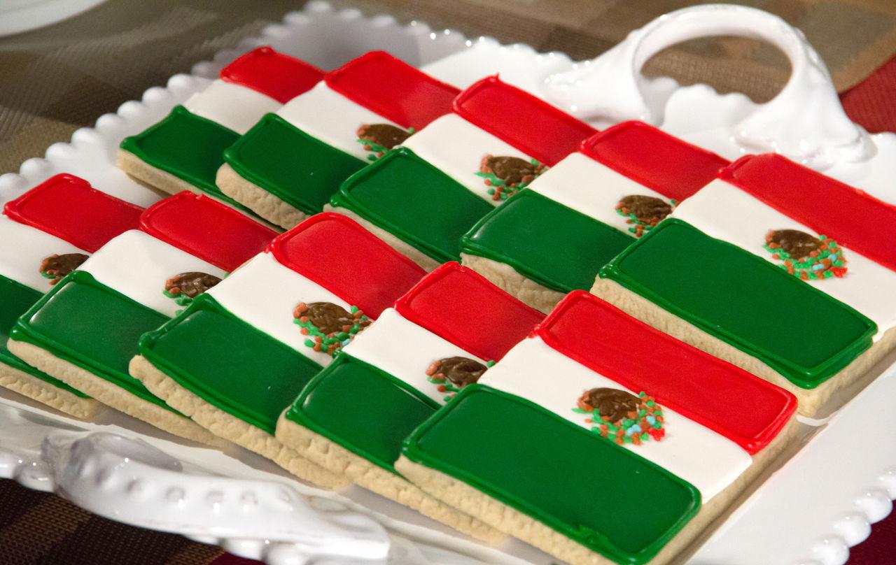 Tasty Mexican Flag Sugar Cookies. Cinco De Mayo Close-up Cookies Mexican Flag Mexico Multi Colored No People Pastries Sugar SugarRush