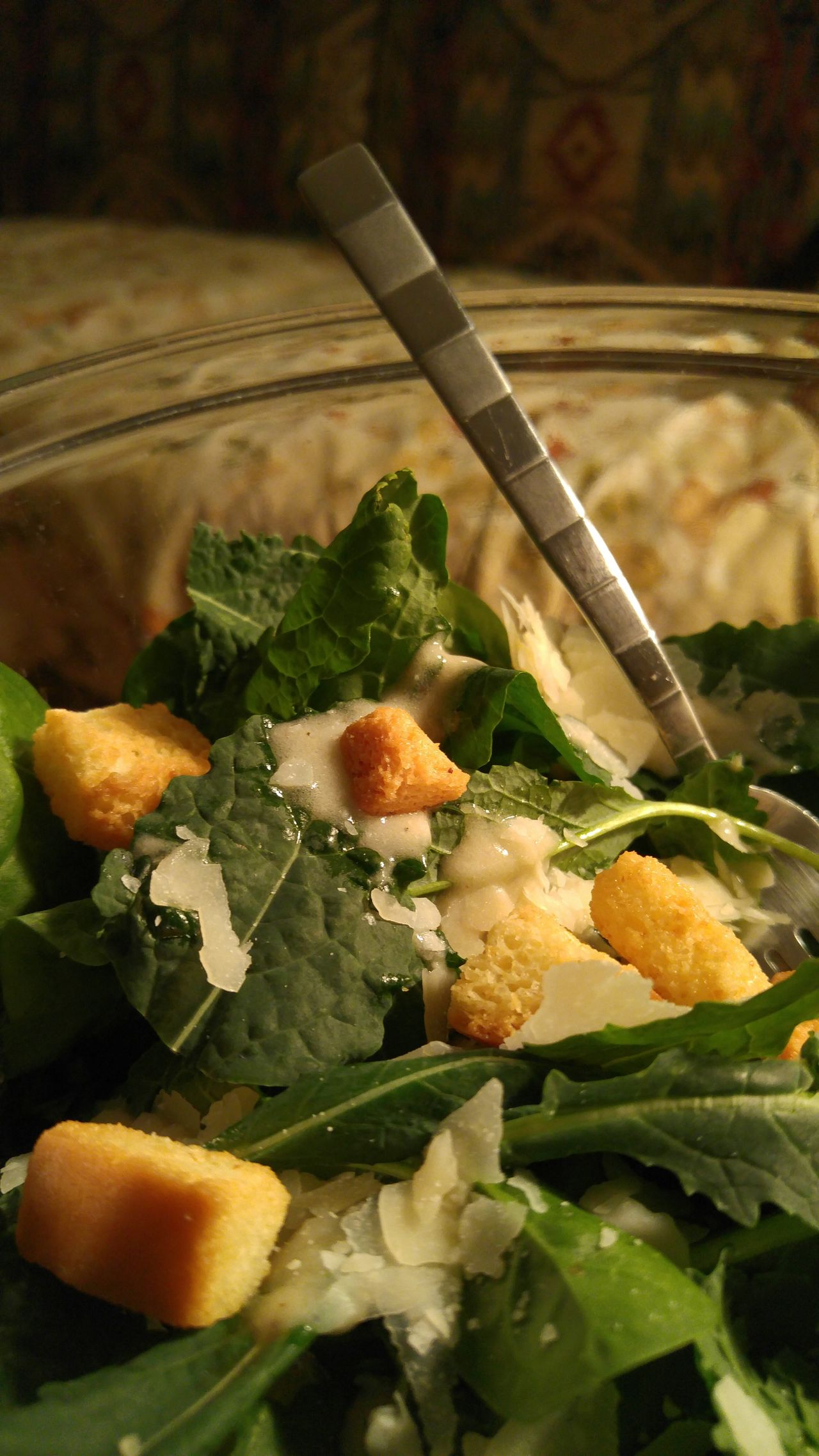 Caesar salad.... and then it was eaten. Food Healthy Eating No People Close-up Freshness Caesar Salad Salad Fork Green