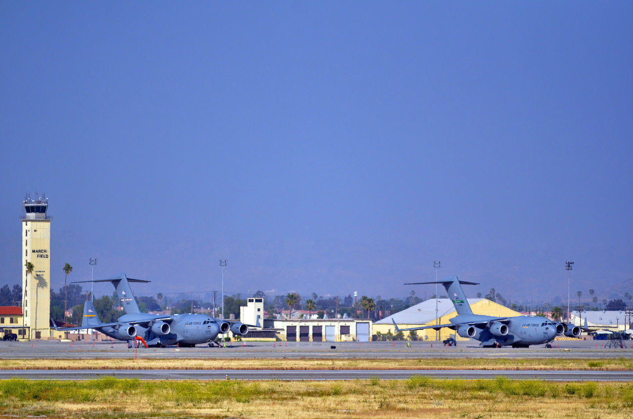 Airforce Airplanes Blue C5 Galaxy Clear Sky Day Globemaster Kc135 Land Vehicle March Air Base Mode Of Transport Nature No People Outdoors Parked Parking Parking Lot Riverside California Road Sky Stationary Transportation Vehicle
