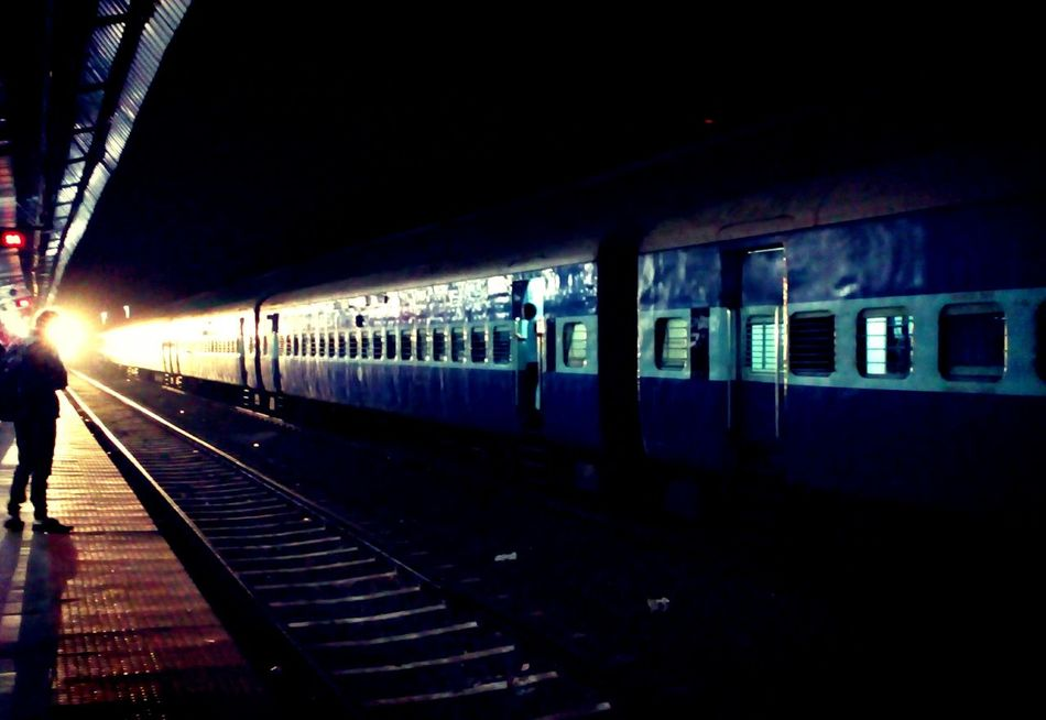 Transportation Mode Of Transport Train - Vehicle Indiantrains Railroad Track Landscape Backgrounds Mobilephotography Beginner MotoClick Beginnerphotographer Low Angle View Night Rail Transportation Public Transportation Illuminated Railroad Station Platform No People Outdoors