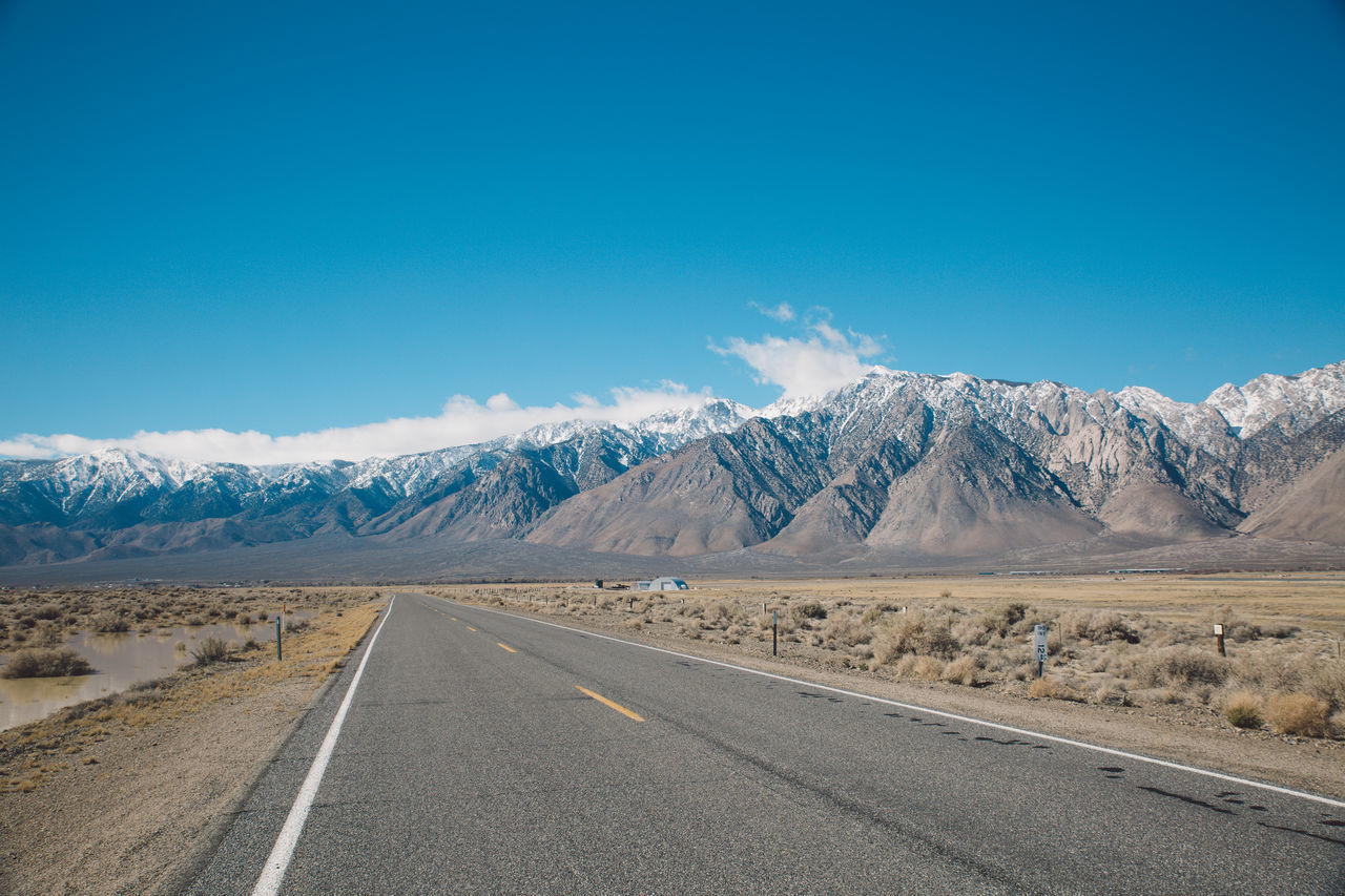 Arid Climate Arid Landscape Blue Sky CA-190 California Clouds Death Valley Desert Mountain Range Nature Peaks Road Roadtrip Snow