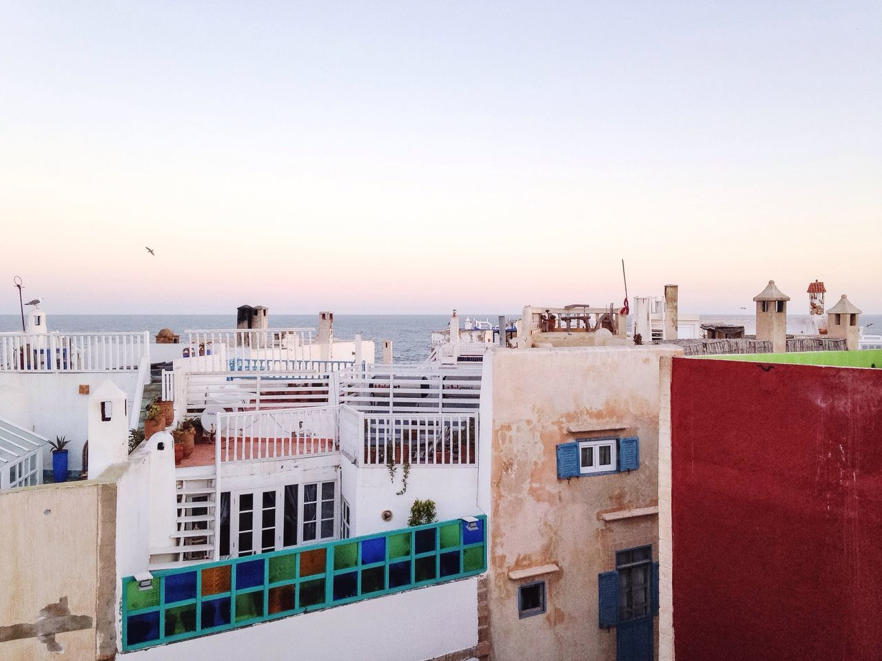 Morning Roof Rooftop Seα Colors Gull Essaouira Morocco Travel Traveling