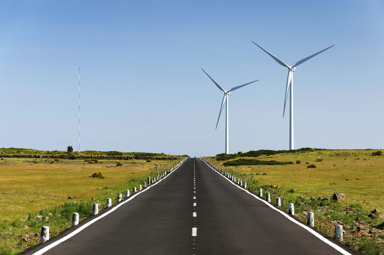 Wind Turbines Along Countryside Road