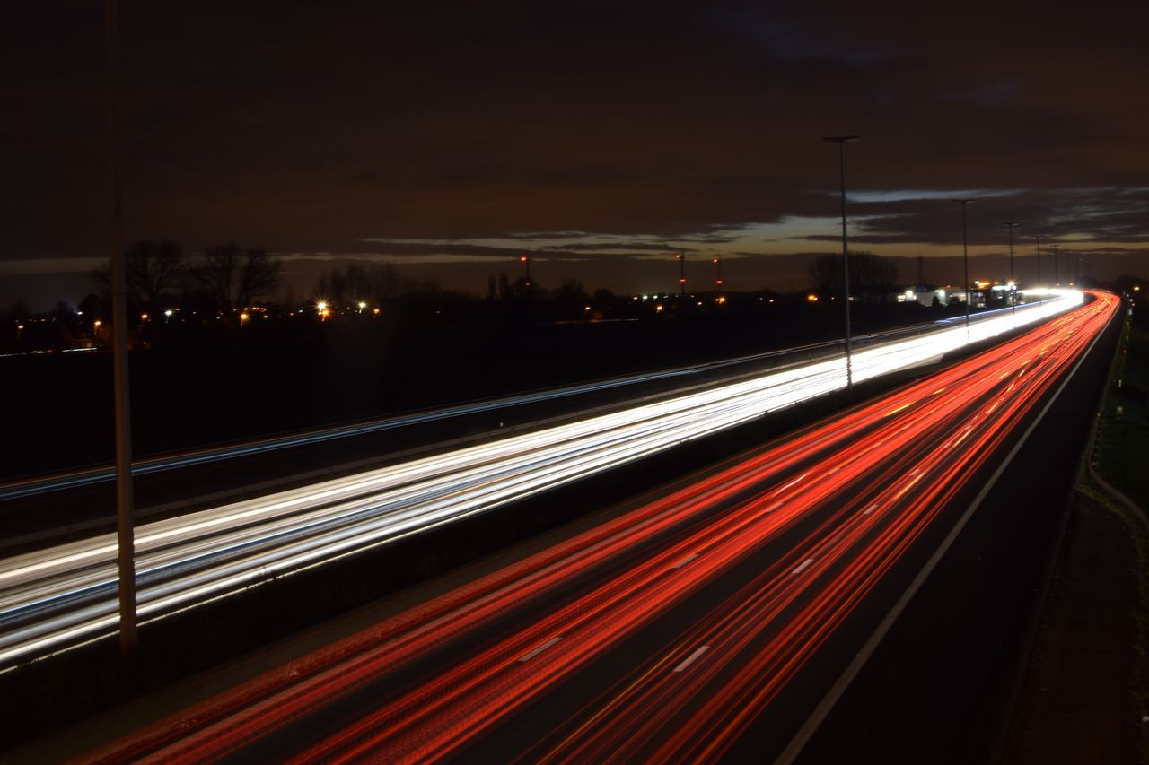 Blurred Motion Dusk Sky High Way Light Trail Long Exposure Outdoors Speed Traffic