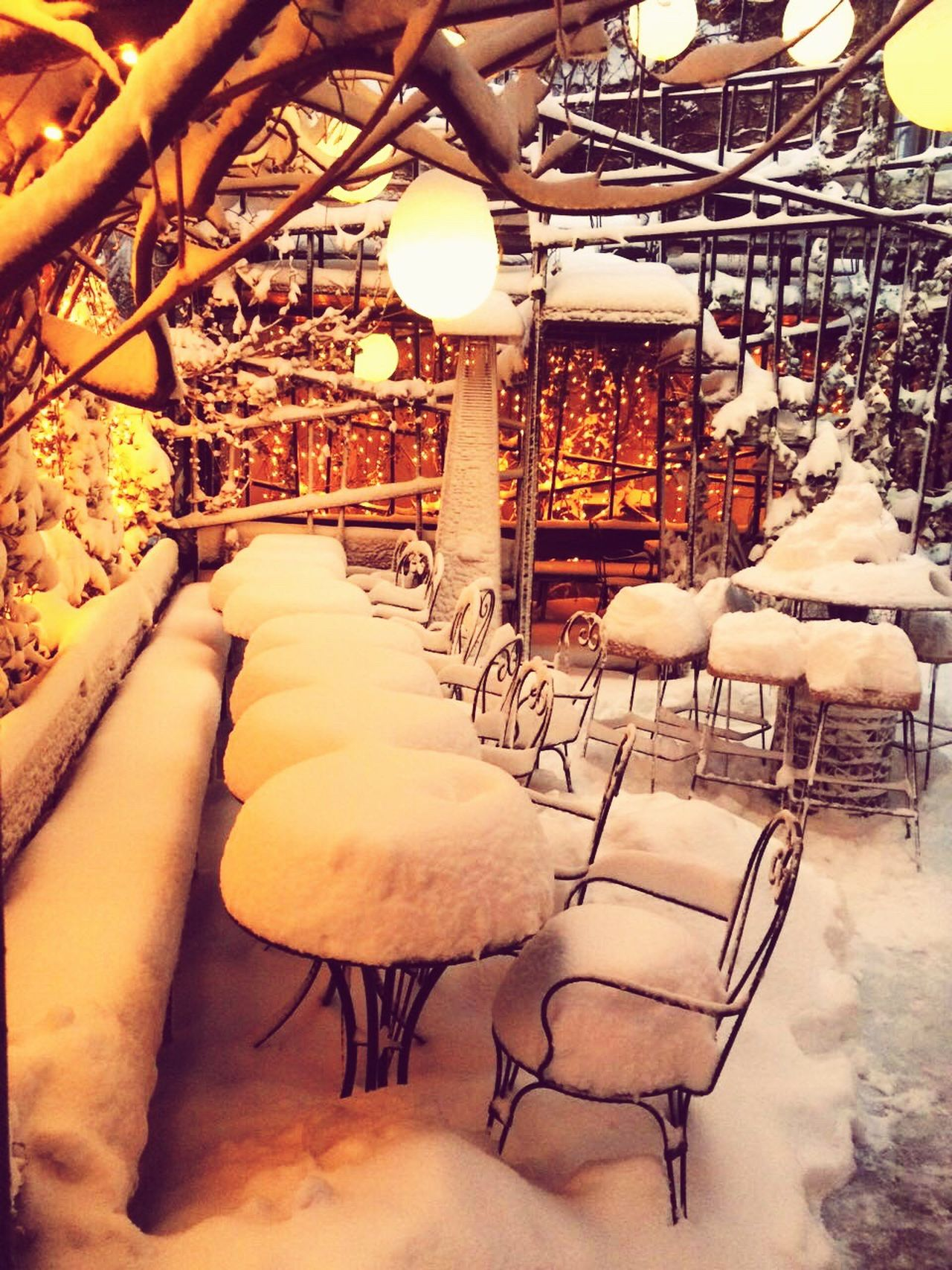 A snowy terrace Terrace Snow Winter Wintertime Dinner Wining And Dining Outdoors Colour Of Life