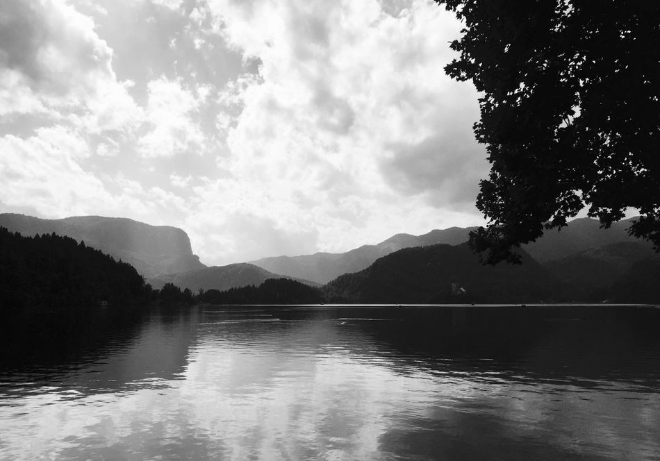Lake Bled, Slovenia Slovenia Lake Bled, Slovenia Black And White Collection  Nature_collection Nature Scenery Blackandwhite Eye4photography  IPhone Traveling Black And White Travel Photography Black & White Beautiful Nature Landacapes With Whitewall Landscapes With WhiteWall