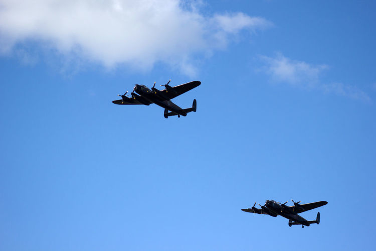 2 Lancaster bombers Lancasters Air Force Air Vehicle Airplane Airshow Blue Clear Sky Day Fighter Plane Flying Helicopter Journey Lancaster Bomber Low Angle View Mid-air Military Military Airplane Mode Of Transport No People Outdoors Plane Public Transportation Sky Transportation