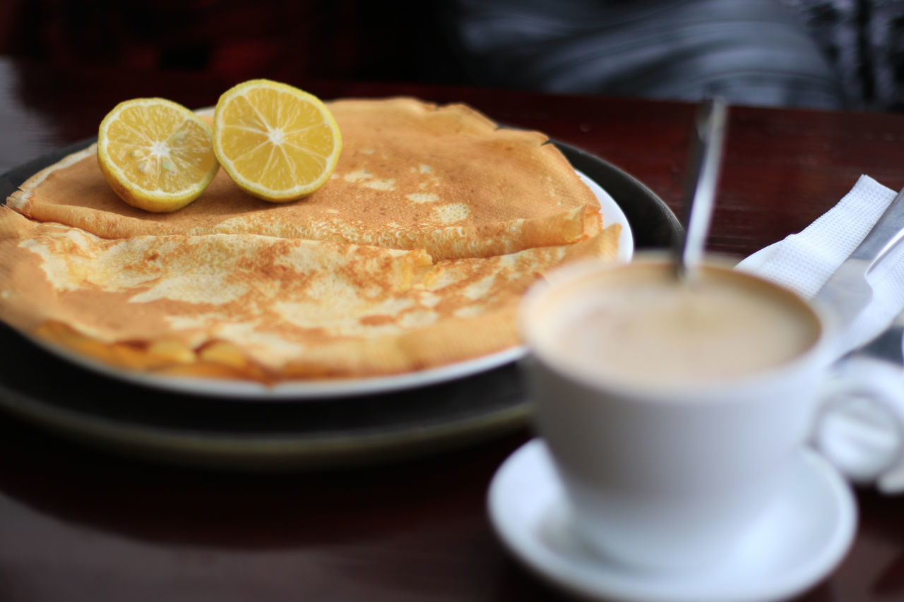 lemon on pancakes white coffee Close-up Coffee - Drink Coffee Cup Day Drink Food Food And Drink Freshness Frothy Drink Healthy Eating Indoors  No People Plate Ready-to-eat Refreshment Table