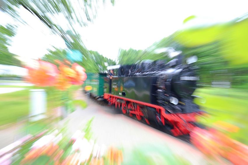Rasender Roland  Blurred Motion Day Land Vehicle Locomotive Motion No People Outdoors Passenger Train Public Transportation Rail Transportation Railroad Track Ruegen Island Speed Steam Locomotive Train - Vehicle Transportation