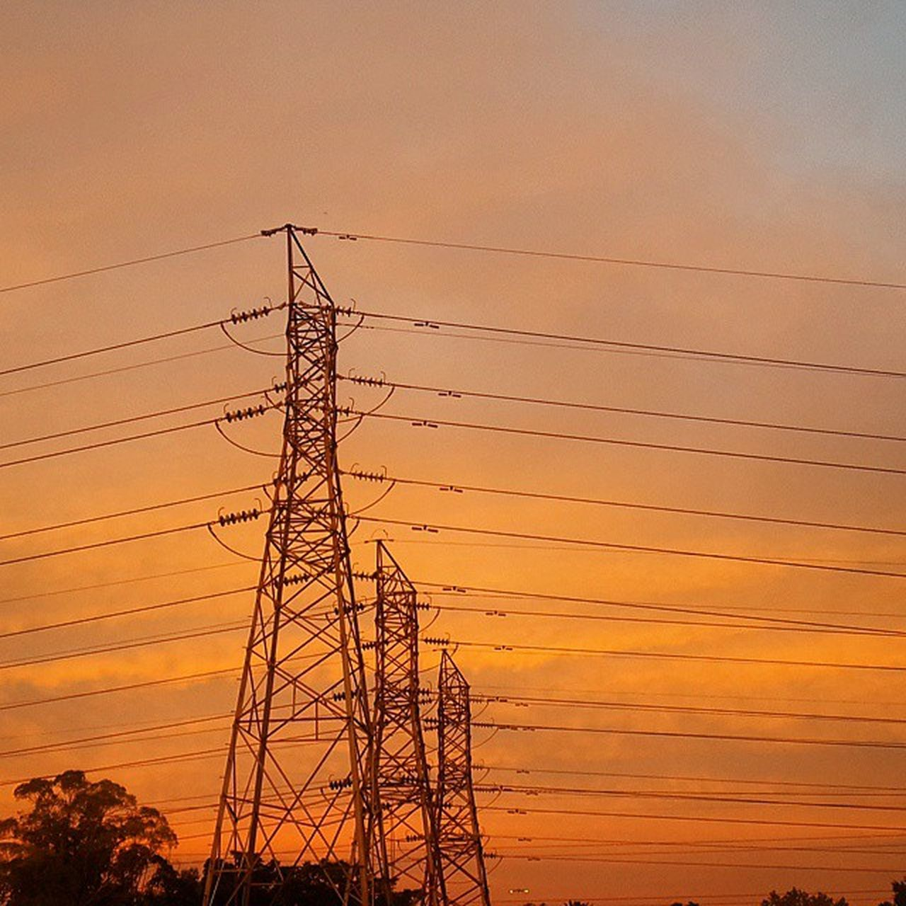 sunset, cable, electricity pylon, electricity, connection, power line, power supply, fuel and power generation, orange color, silhouette, no people, technology, sky, landscape, nature, low angle view, scenics, outdoors, beauty in nature
