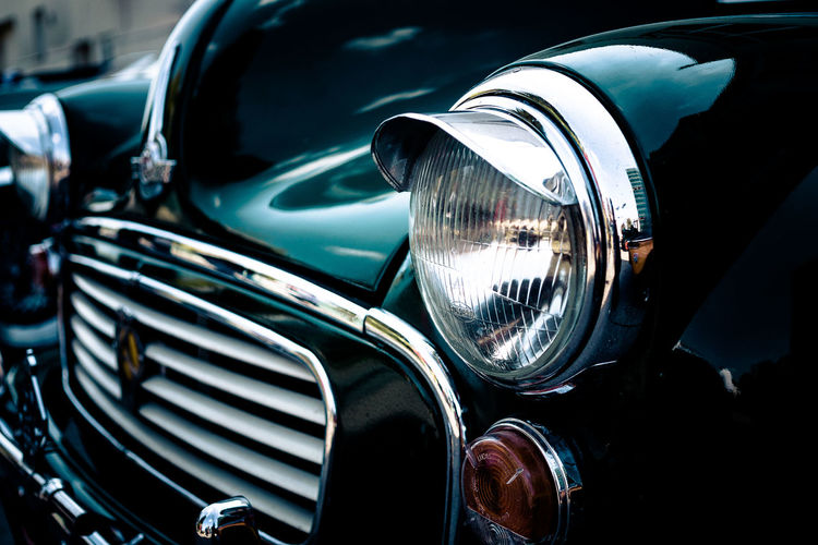 Car Classic Car Close-up Headlight Land Vehicle Morris No People Old-fashioned Outdoors Reflection Retro Styled Shiny Transportation Vintage Car