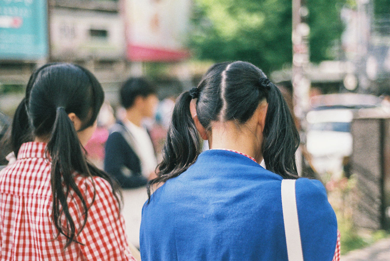 Youth 35mm Analog Analogue Photography Building Exterior Color Color Palette Day Focus On Foreground Friendship Girls Harajuku Japan Kodak Portra Lifestyles Outdoors People Real People School Streetphotography Style Summer The Street Photographer - 2017 EyeEm Awards Togetherness Tokyo Youth