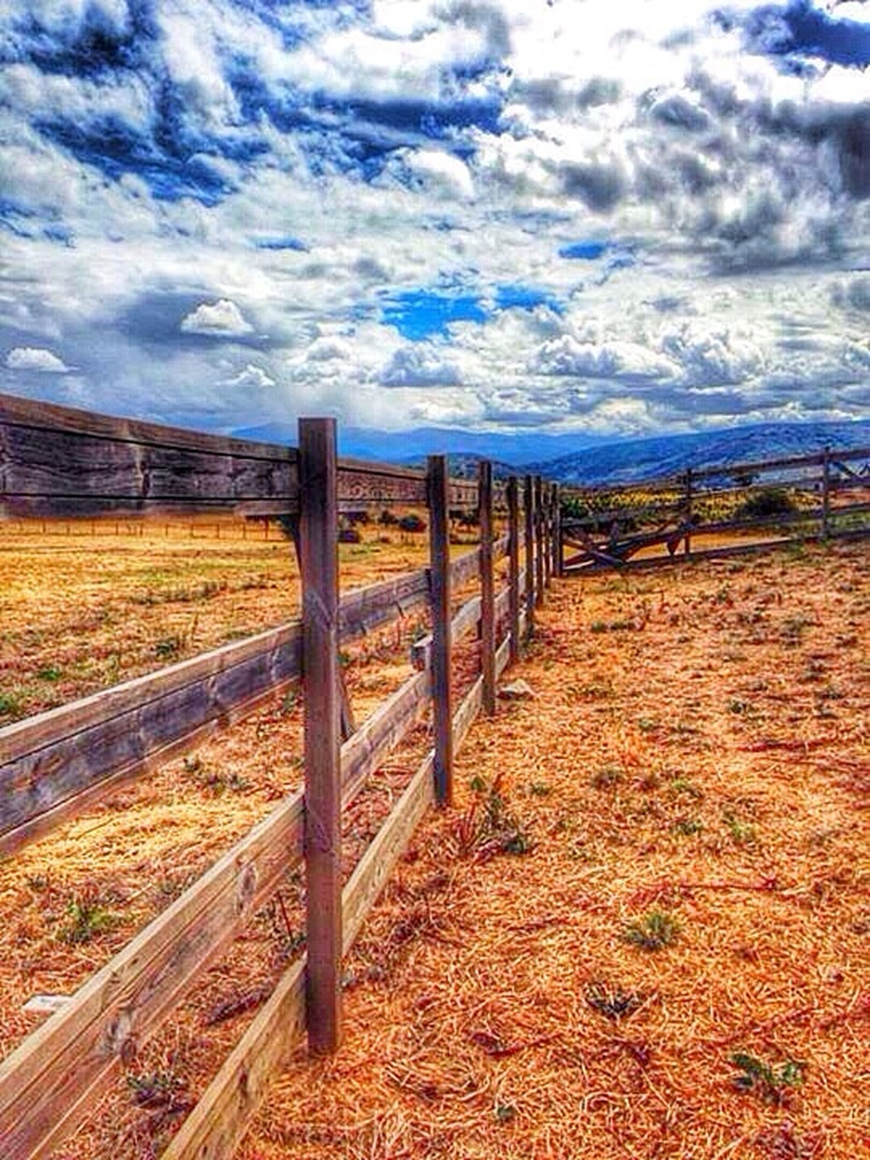 sky, cloud - sky, landscape, field, tranquil scene, fence, tranquility, cloud, rural scene, cloudy, nature, scenics, agriculture, beauty in nature, grass, blue, horizon over land, the way forward, dry, no people