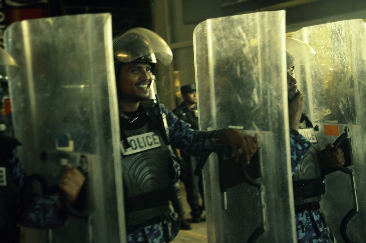 Maldives police . Smile :) People Are People November 27 2014 Male'city At Artificial Beach Minjvaan..