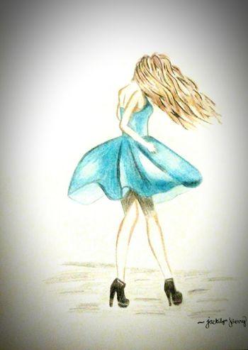 Weird Art Sketching ✏ Girl In Blue Dress Hairfashion Hair In The Wind EyeEmNewHere
