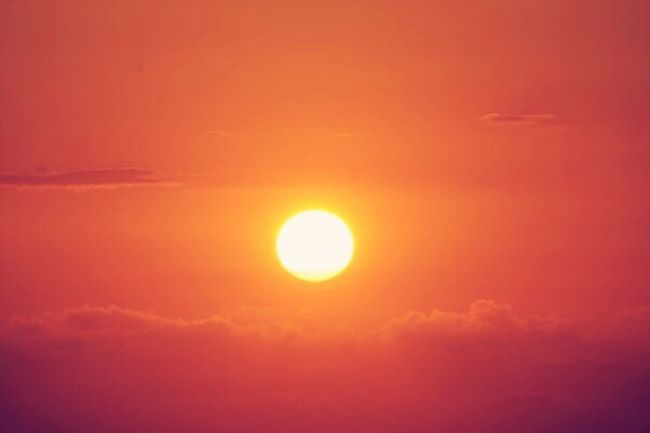 Sun Sunset Orange Color Scenics Beauty In Nature Tranquil Scene Vibrant Color Sky Sky Only Glowing Cloudscape
