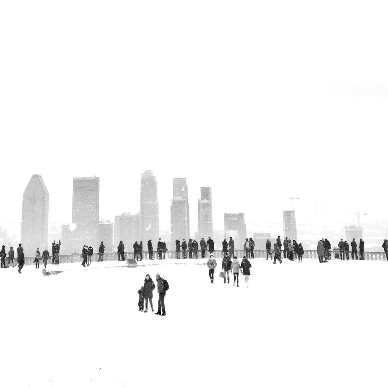 Large Group Of People City Architecture Winter Blackandwhite Streetphoto_bw Week On Eyeem Cold Temperature Silhouette