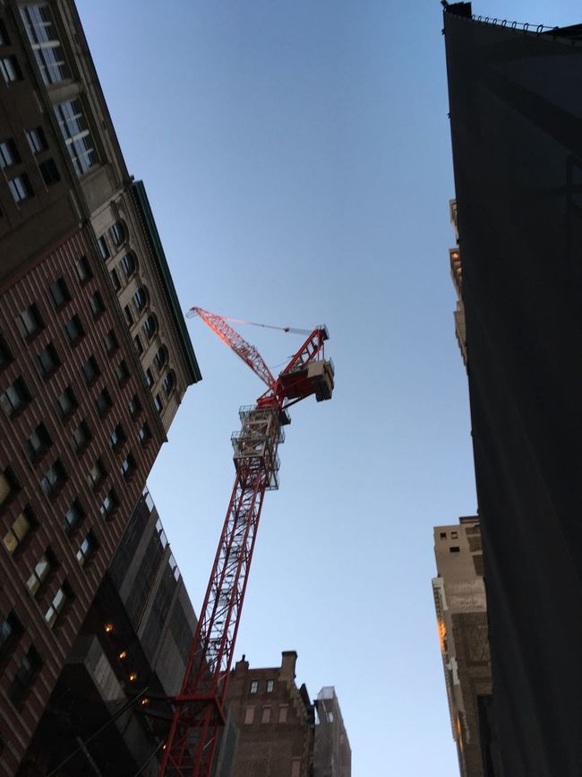 Architecture Blue Building Exterior Built Structure Clear Sky Construction Construction Site Crane - Construction Machinery Day Development Incomplete Low Angle View New York City No People Outdoors Progress Sky Tall Tall - High