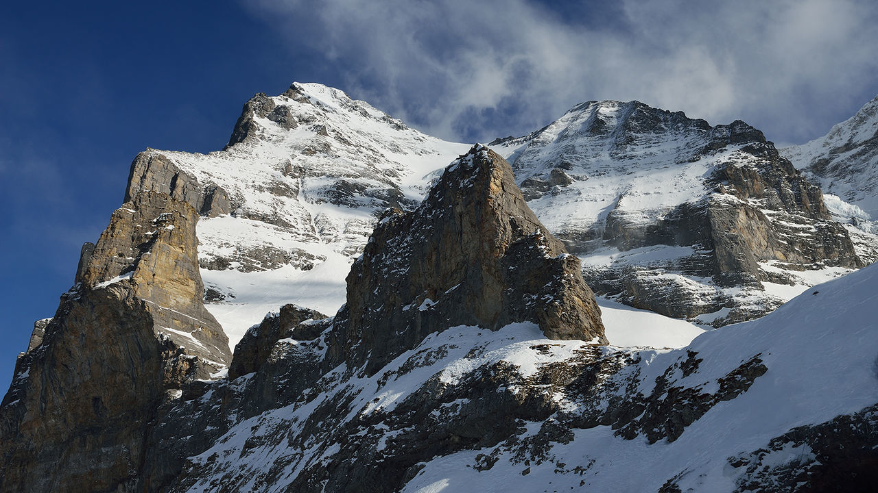 Kleine Scheidegg, above Grindelwald, Switzerland Alps Bernese Oberland Day Geology Grindelwald Kleine Scheidegg Landscape Mountain Mountain Range Non-urban Scene Physical Geography Rock Rock Formation Rocky Rocky Mountains Scenics Snow Swiss Switzerland Tranquil Scene Valley Wengen