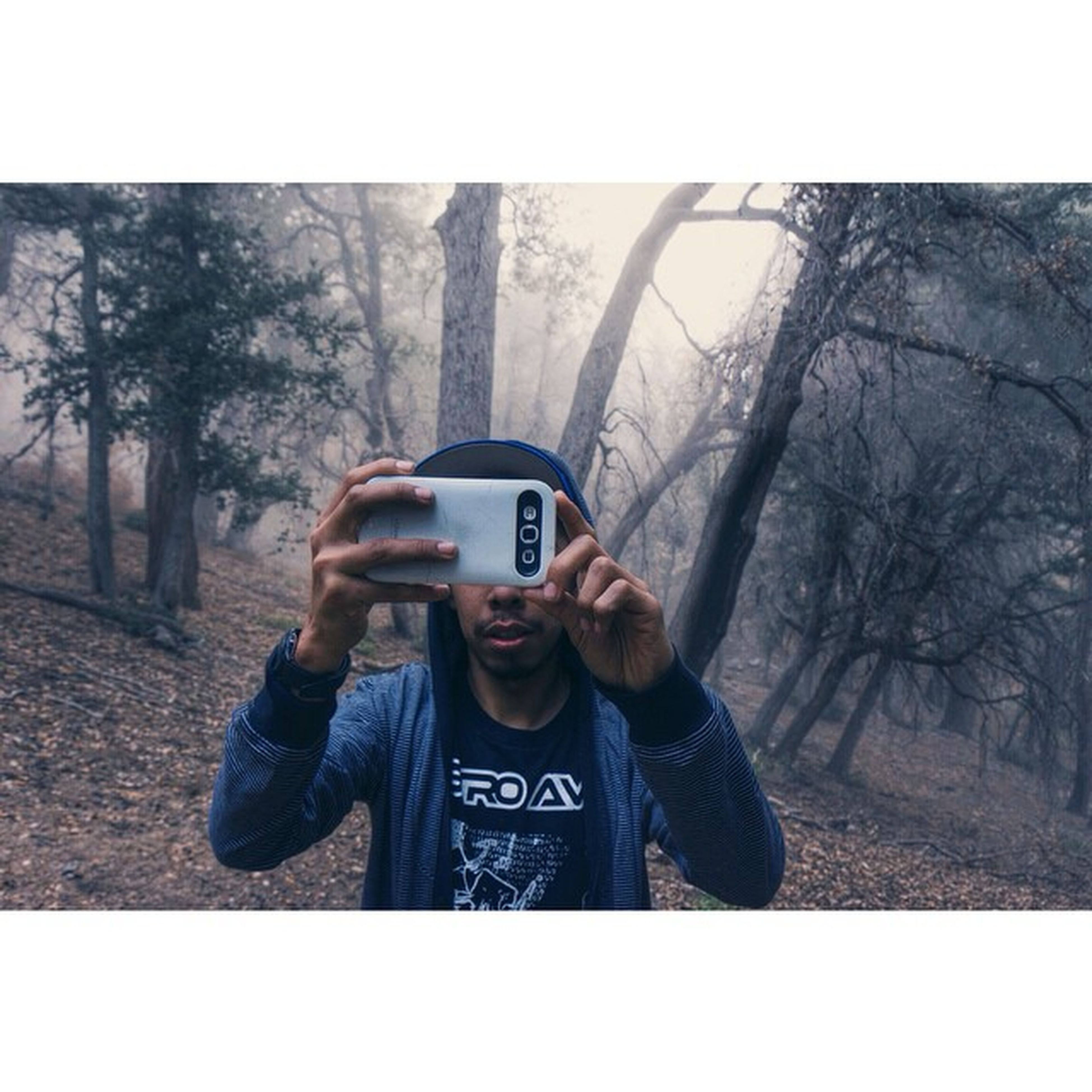 lifestyles, leisure activity, communication, photographing, tree, photography themes, holding, transfer print, wireless technology, casual clothing, technology, young men, young adult, camera - photographic equipment, person, men, smart phone