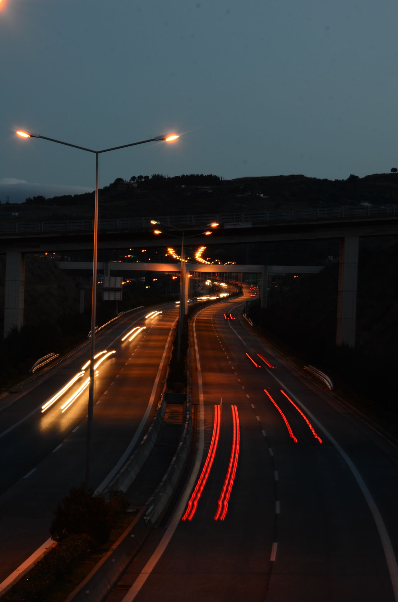 City Life Dark Diminishing Perspective Highway Highwayphotography Illuminated Light Trail Lighting Equipment Motion Night No People On The Move Outdoors Road Road Marking Sky Street Light The Way Forward Transportation Vanishing Point