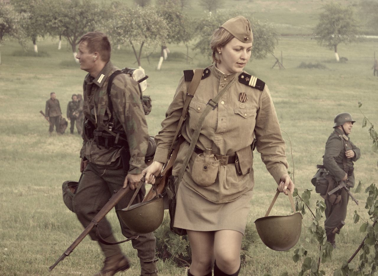 Historical Reenactment History IIww Katiusa Military Nacist Outdoors People Period Costume Reconstruction Red Army Second World War Soldier Soviet Army Weapon Women Women Soldiers World War 2