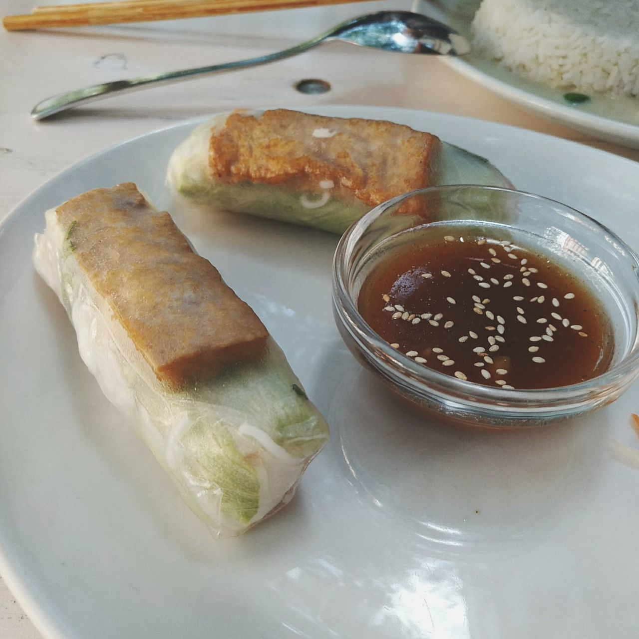 Food And Drink Healthy Eating Sesame Seed Soja Sauce Raw Food Summer Rolls Springrolls Summer Roll Fish Sauce Chinese Food Vietnam Food Vietnamese Food Streetfood Asianfood Summerrolls Springroll Spring Roll Summerroll Tofu Soja Soya Soya Sauce Bowl Nom Nom Nom Yummy
