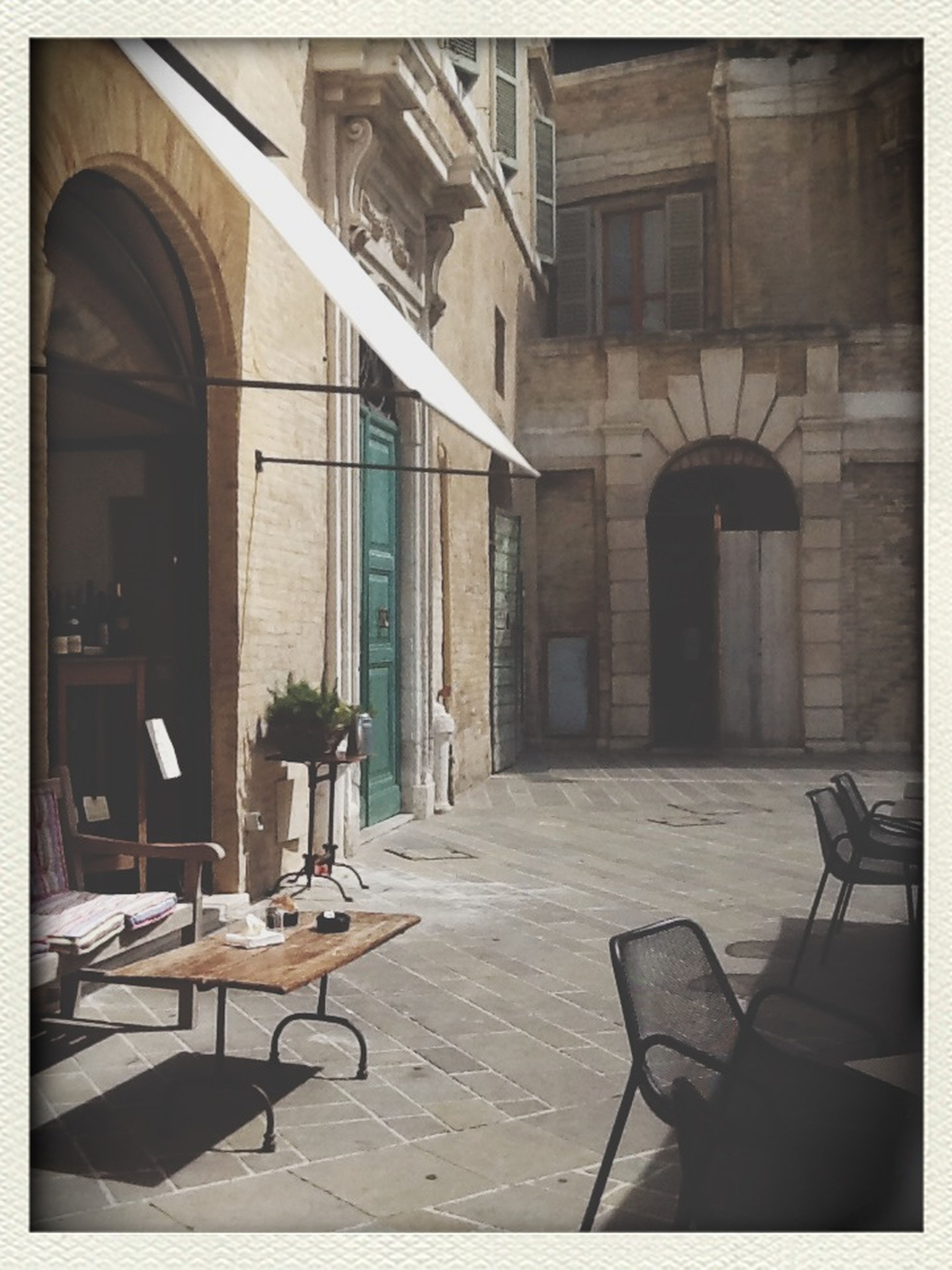 architecture, built structure, transfer print, building exterior, chair, auto post production filter, empty, absence, window, table, house, indoors, sunlight, day, residential structure, building, abandoned, residential building, door, city