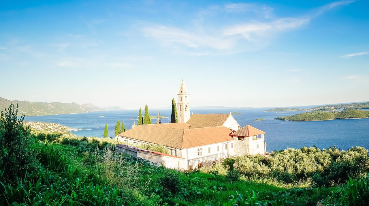 Monastery Architecture Water Built Structure Building Exterior Church Religion Place Of Worship Sky Sea Ocean Blue River Day Solitude Outdoors Calm Scenics Nature Tranquil Scene Tranquility Cloister Croatia