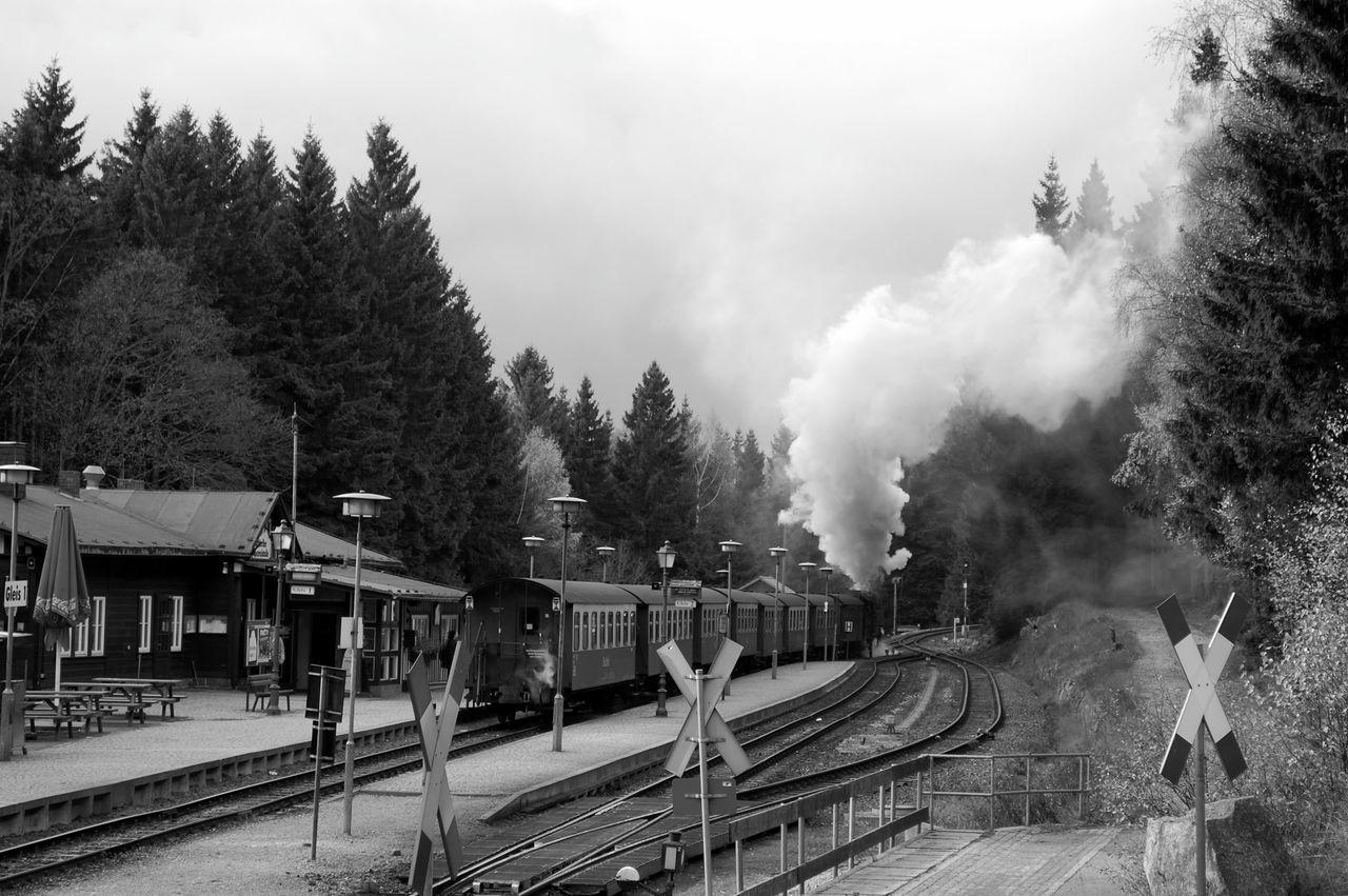 Blackandwhite Brocken Brockenbahn Germany Harz Mountain Railway Railway Station Steam Steam Engine Trains