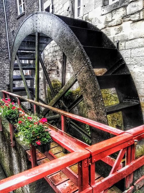 No People Outdoors Close-up Day Red Mill Wheel Watermill Mastricht