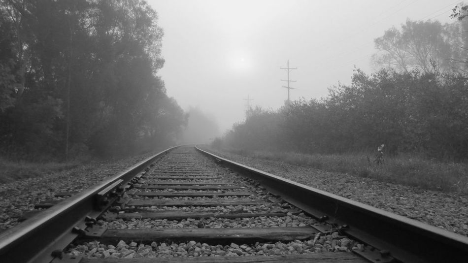 Foggy Morning Black And White PhotographyOut Walking Taking Photos Along The Tracks Sun Coming Through The Clouds Low Angle View Cadillac Pure Michigan