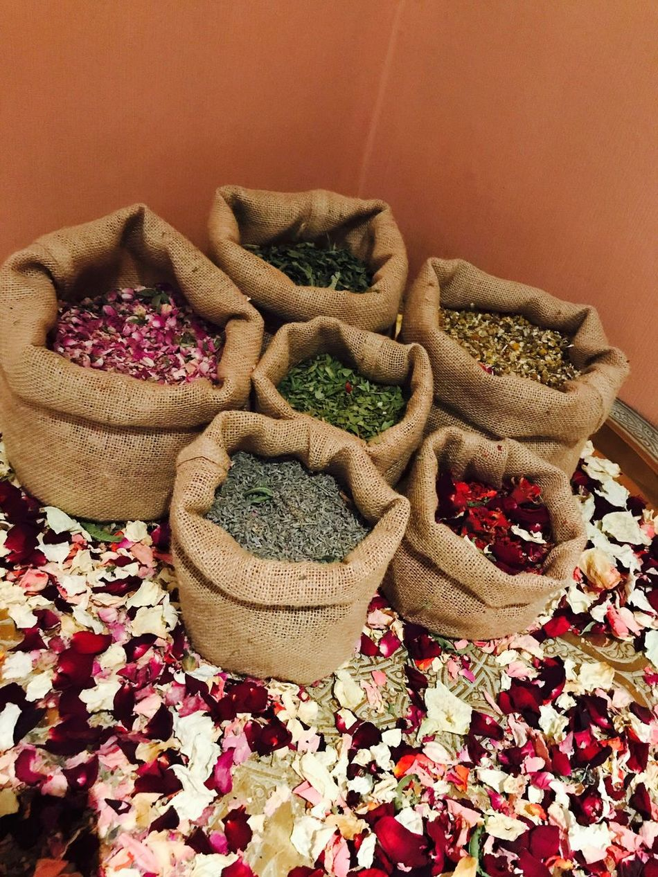 Flower petals in Marrakesh Basket Sack No People Indoors  Food Day Close-up Freshness Petals Rose Petals Moroccan Marrakesh