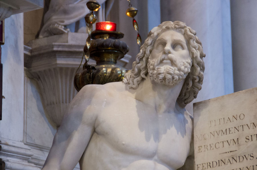Architecture Art And Craft Church Church Of The Brothers Close-up Day Europe Human Representation Indoors  Italy Male Likeness Marble No People Renaisa Santa Maria Gloriosa Dei Frari Sculpture Statue Text Titian Venice Venice, Italy