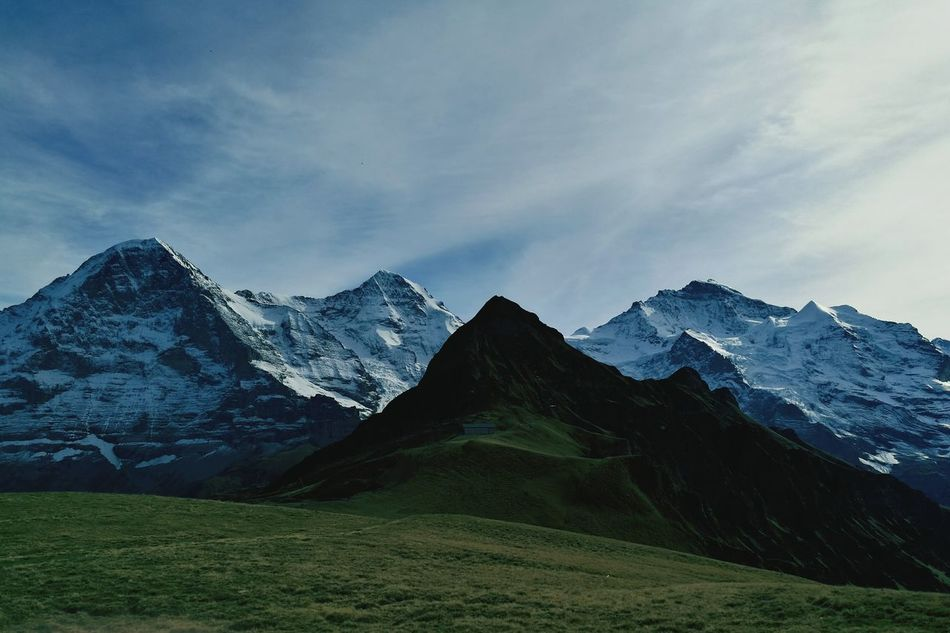 Mountain Landscape Mountain Range Scenics Mountain Peak Beauty In Nature Cloud - Sky Non-urban Scene Snow Nature Outdoors No People Dramatic Sky Sky Day Snow White Snow Eiger Moench Jungfrau