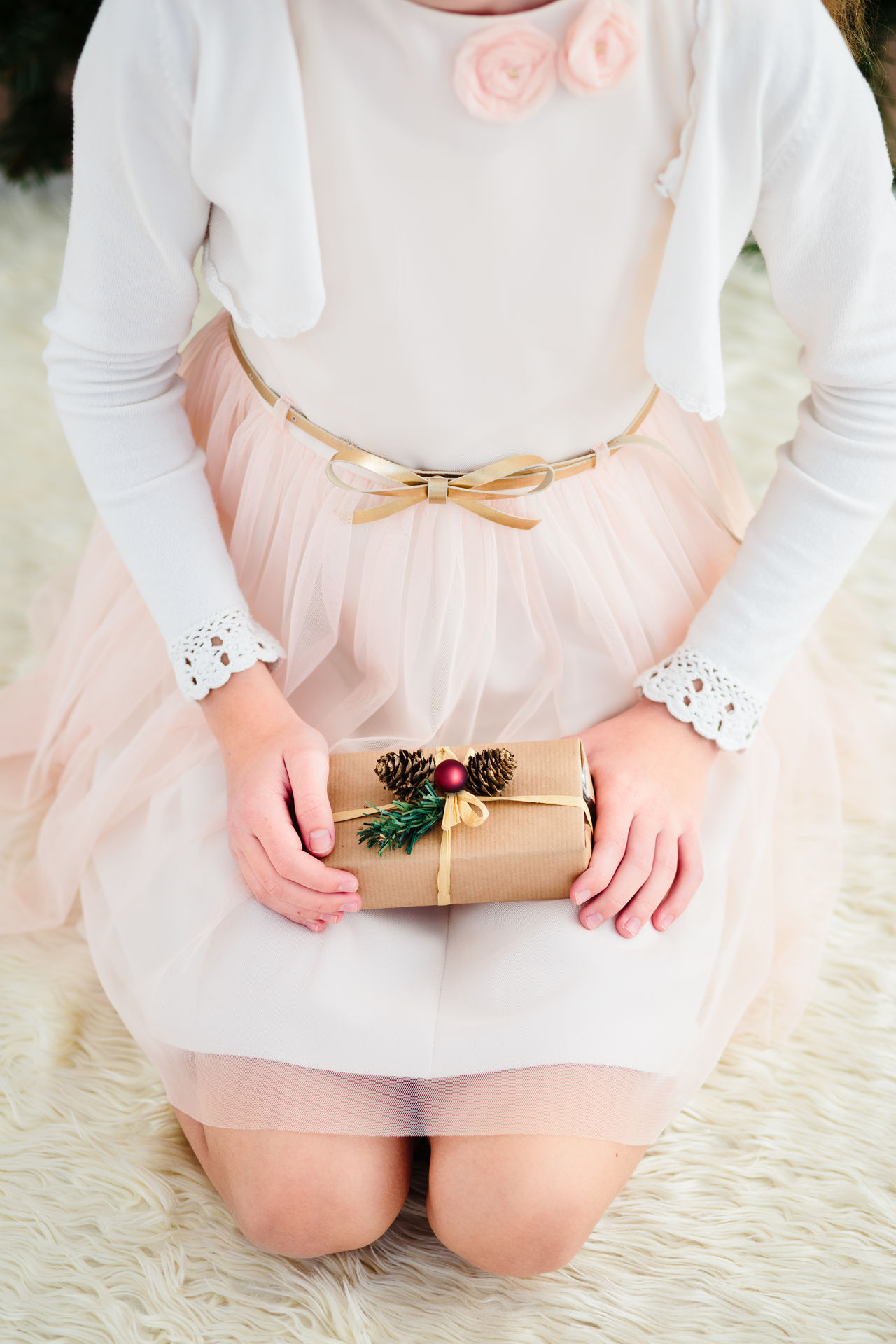 Girl wearing dress holding Christmas gift and sitting on a carpet Celebrating Celebration Child Childhood Christmas Christmastime Decorated Dress Gift Girl Holding Holiday Home Light Person Present Red Tree Vertical Wrapped Young