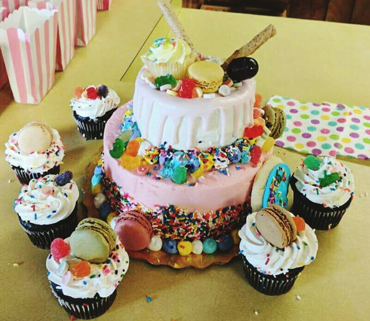 food and drink, indulgence, sweet food, temptation, dessert, food, unhealthy eating, freshness, cake, indoors, cupcake, table, ready-to-eat, sprinkles, multi colored, variation, no people, dessert topping, close-up, day