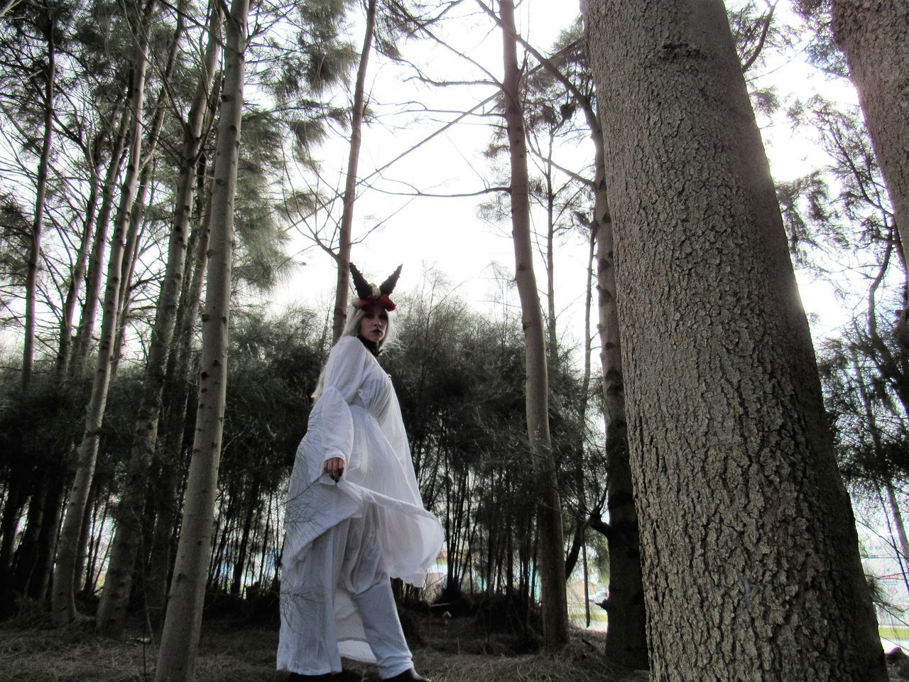 Magical Adult Day DEEP FOREST Forest Horned Female Nature One Person Outdoors People Tree Tree Trunk White Dress White Gothic Young Adult Carnival Crowds And Details