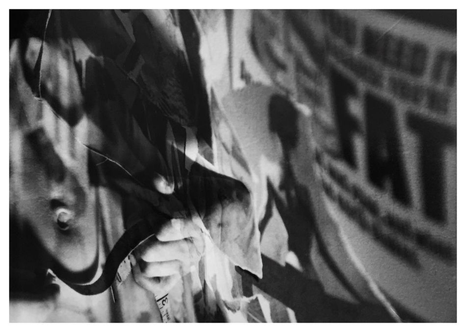 """Obsessions 1. From my series of 12 photos, entitled """"Addictions, Obsessions, Compulsions"""". Shot on Kodak TMax 100 film with my Canon EOS Rebel K2. Conceptual Photography  Conceptual Image Sandwiched Negatives Double Exposure Film Photography Conceptual Self Portrait Story Photography Contrast Obsessions Dying To Be Thin Anorexia Blackandwhitephotography B&W_collection Cindy Sherman Inspired By Cindy Sherman"""