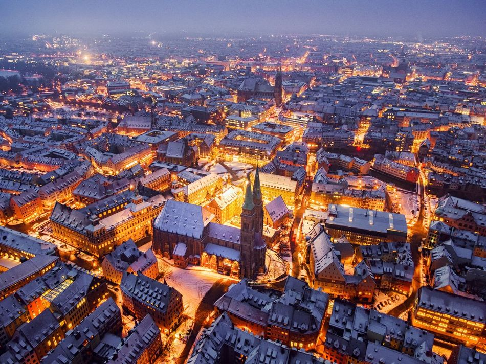 Building Exterior Architecture Cityscape City Built Structure Crowded Aerial View High Angle View Illuminated Outdoors Residential Building Sky Night Scenic Lookout Nürnberg Franken Nürnberger Impressionen Luftbild Dji
