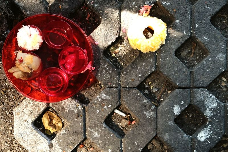 Offering Offering To God Offerings To The Gods Offering To Ghost Offeringstothegods Faith Brick Cigarette  Discarded No People Red Human Representation Close-up Outdoors Day Bangkok Thailand Chareon Nakorn Textured