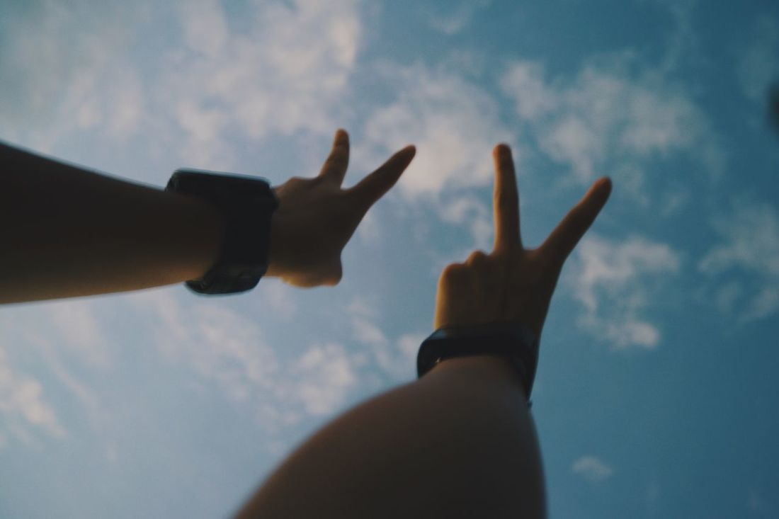 Yay to the sky Human Hand Sky Lifestyles Sunset Outdoors Nature Leisure Activity Clouds And Sky Watches Vibe Yeah! Yay
