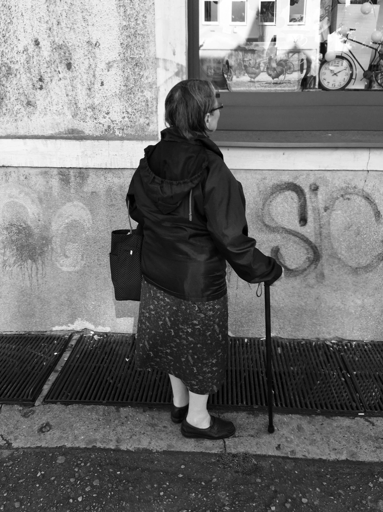 Fascination - Gdynia 22 September 2016 ( IPhone 6+ ) Architecture Black & White Black And White Bnw Bnw_collection EyeEm Best Shots EyeEmBestPics Gdynia Leisure Activity Lifestyles One Person Overcoat Poland Real People Rear View Shopping Standing Warm Clothing Window Shopping Woman