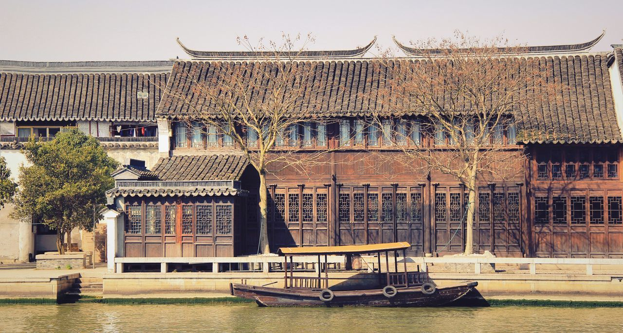 Blue Sky Place I've Been Place Of Interest Streetphotography Street Photography Traveling Relaxing Old Buildings Old House Old Town Old Street Old Style Chinese Culture Boat Architecture_collection Architecture Buildings River Riverside Riverscape Travel Photography Travelling Tree